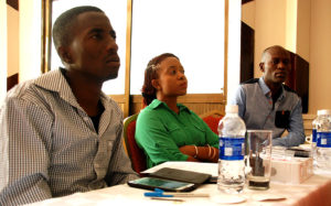 Delight, Felistus and Sylvere paying close attention at video 4 change training