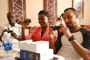 Participants in trying out the cameras