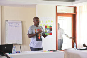 Bactrin Killingo presents the new Activist Toolkit in a workshop in Uganda, April 2015